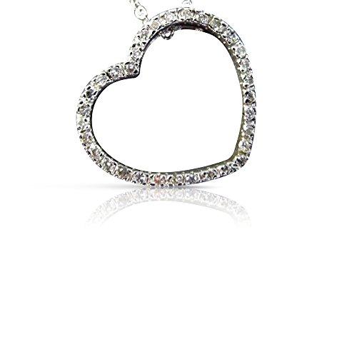 Milano Jewelers .20CT DIAMOND 14KT WHITE GOLD CLASSIC OPEN HEART FLOATING PENDANT #20585