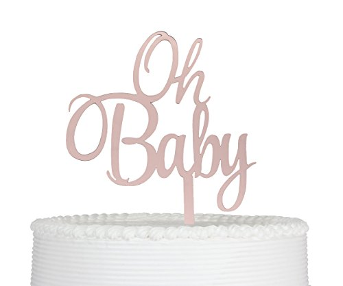Oh Baby Cake Topper, Baby Shower, Gender Reveal Party Decorations Rose Gold