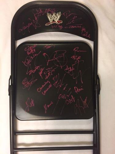wwe-decal-steel-chair-signed-by-30-smackdown-live-superstars-styles-ambrose-miz-autographed-wrestlin