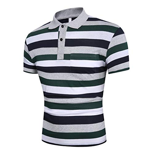 MmNote mens clothes clearance sale, Men's Summer Slim Fit Turn-Down Collar Shirt Short Sleeve Pocket Top Blouse Green ()