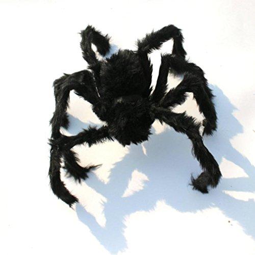 Dream_mimi Black plush spider halloween decoration haunted house props indoor outdoor house interior design bedroom decorating ideas (75cm, Black)