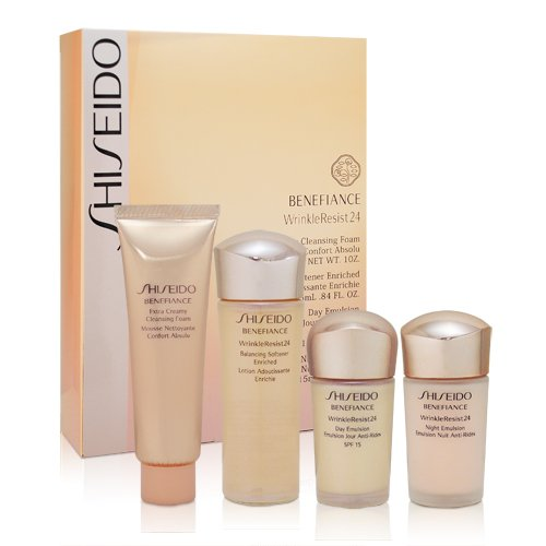 (Shiseido Benefiance Wrinkle Resist 24 - 4 piece Trial Set (day & night emulsions, extra creamy cleansing foam, balancing softener))