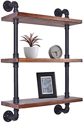 Diwhy Industrial Pipe Shelving Bookshelf Rustic Modern Wood Ladder Storage Shelf 3 Tiers Retro Wall Mount Pipe Design DIY Shelving Black, L 24