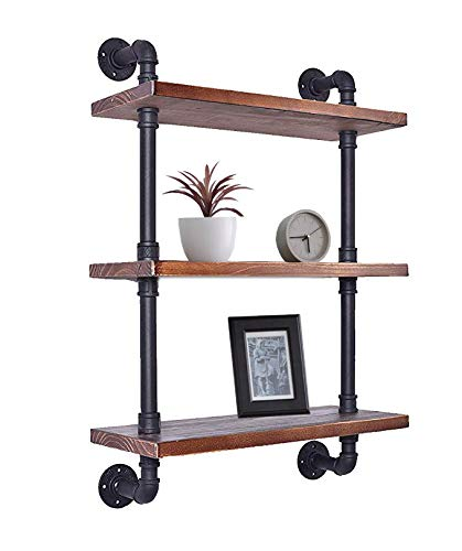 Diwhy Industrial Pipe Shelving Bookshelf Rustic Modern Wood Ladder Storage Shelf 3 Tiers Retro Wall Mount Pipe Dia 32mm Design DIY Shelving (Black, L 24