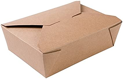 BIOZOYG Caja Alimentos Take Away I Bio Caja Alimentos con Tapa Plegable 1500 ml I Caja Rectangular cartón I Caja de cartón Kraft compostables marrón I 180 Piezas Caja desechable To Go