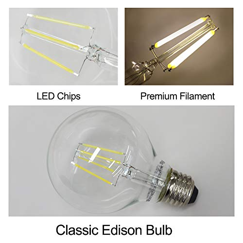 12-Pack LED G25 Dimmable Globe Vanity Light Bulb, 60 Watt Equivalent Clear Edison Filament Bulb, 5000K Daylight, 500 Lumens, E26 Medium Screw Base CRI85+, UL Listed