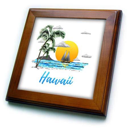 3dRose Macdonald Creative Studios – Hawaii - A Hawaii Beach Sunset with Sailboat on The Open Water. - 8x8 Framed Tile (ft_295569_1) -