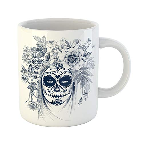 Emvency Coffee Tea Mug Gift 11 Ounces Funny Ceramic Skull on Vintage Girl and Flowers Black White Sugar Gifts For Family Friends Coworkers Boss -