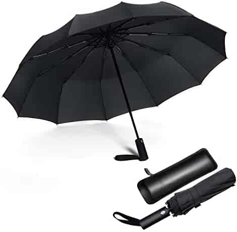 6f23796a3fdf1 Jiguoor 12 Ribs Windproof Travel Umbrella Compact and Sturdy Fast Auto Open/ Close w/