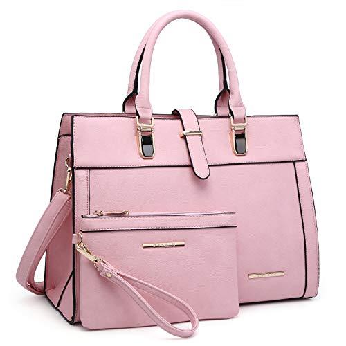 Fully Lined Tote Two Pocket (Women's Purse Handbag Shoulder Bag Tote Satchel Hobo Bag Briefcase Work Bag for Ladies (8000 2pcs- Pink))