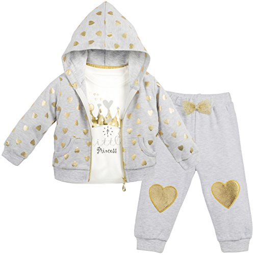 Lilax Baby Girl Soft Cotton Glitter Heart Print T-Shirt, Pant, and Hoodie Outfit Set 12M Gray