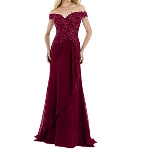 Damen Brautmutterkleider Festlichkleider Charmant formalkleider Chiffon Spitze Weinrot Ballkleider Lang Abendkleider BCxHqSPv