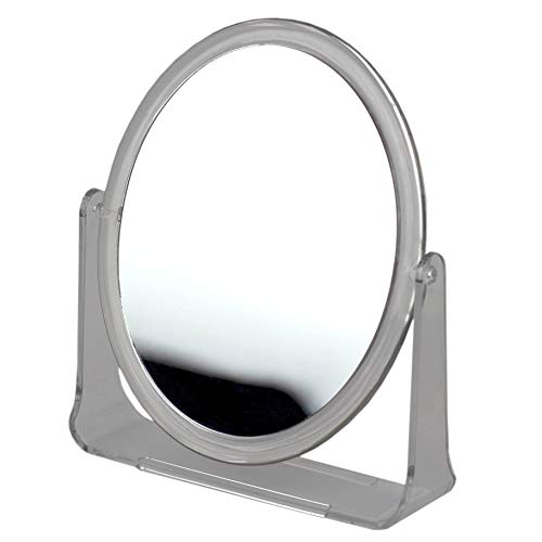 Home Basics Double Sided Tabletop and Countertop Mirror with Transparent Plastic Frame -