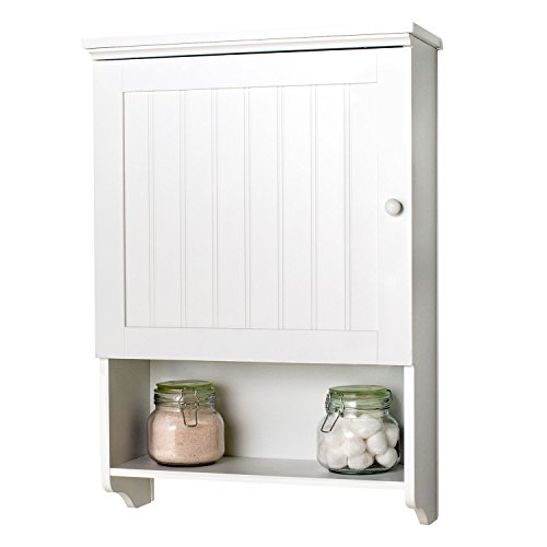(Country Cottage Space Saver Bathroom Wall Storage Cabinet Organizer, White)