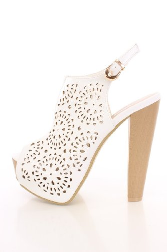 DBDK Enora-1 White Camel Perforated Peep Toe Booties Faux Leather