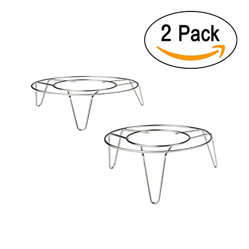 Chrome Cookware Stand (T&B Cooking Rack Round 304 Stainless Steel Baking and Cooling Steaming Rack V Stand Cookware Heavyweight Chrome for Cooker Silver Tone Set of 2 (5diameter 1.58&2.76height))