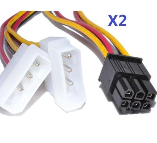 EatingBiting(R)2pcs of 2 IDE Dual 4 Pin Molex IDE Male to 6 Pin Female PCI-E Y Molex IDE Power Cable Adapter Connector 6 inch for the graphics card