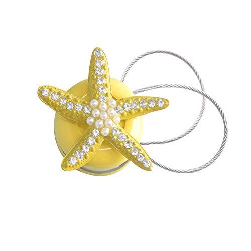 shengyuze - Abrazadera magnética para Cortina de Ventana, diseño de Estrella de mar, Amarillo, Una Talla