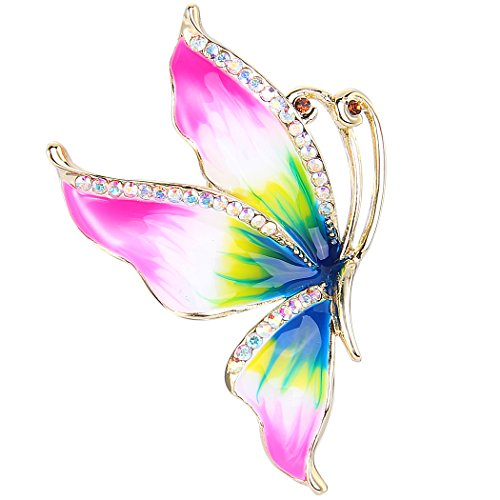 - EVER FAITH Women's Austrian Crystal Enamel Elegant Butterfly Insect Brooch Pin Multicolor Gold-Tone