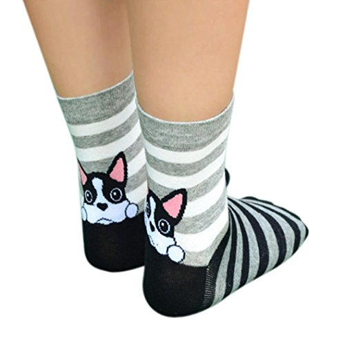 Clearance! Napoo Women 3D Animals Cartoon Socks Puppy Footprints Cotton Socks (Black)