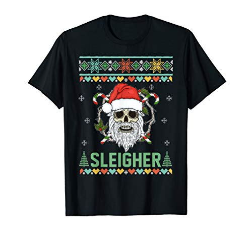 Sleigher Metal Santa Skull Ugly Christmas Sweater T-Shirt