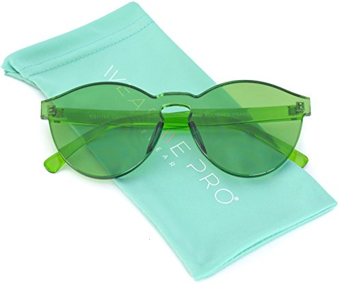 WearMe Pro - Colorful Transparent Round Super Retro - Green Frames Glasses