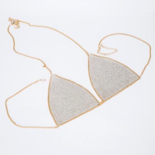 lan27 Sexy Women Nightclub Bling Crystal Bra Party Body Jewelry Bikini Beach Harness Slave Gold Color Necklace Bra by lan27 (Image #3)