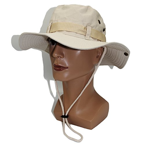 Cream Adventure Hat (Aosheng Fishing Hunting Hat-Wide Brim-Adjustable Drawstring Bucket cap Cotton And Boonie Hat UV Protection In Summer Outdoor Adventure Cream)