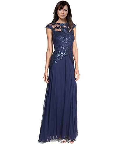 Tadashi Shoji Sequined Lace Cap Sleeve Evening Gown Dress