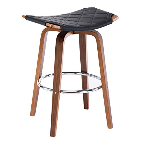 Christies Home Living Wood and Black Faux Leather Mid-Century Modern Backless Swivel Barstool 26-Inch Seat Height, Set of 2 ()