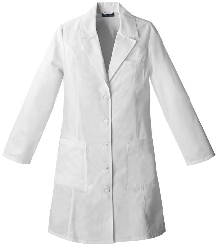 Cherokee 2411 Women's Pro. Whites 37-inch Consultation Lab Coat White - Pocket Coat Consultation