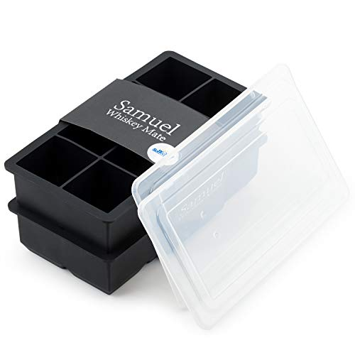 Samuelworld Ice Cube Tray Large Size Silicone Flexible 8 Cavity Ice Maker for Whiskey and Cocktails, Keep Drinks Chilled (2pc/Pack) (black with lids)