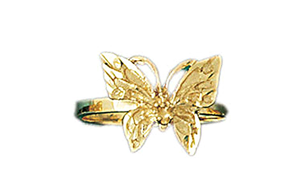 10K Solid Yellow Gold Butterfly Cartilage With CZ Free Beautiful Pomegranate Gift Box
