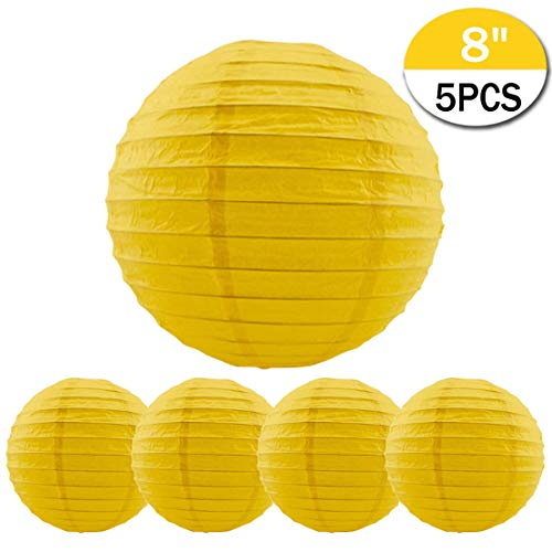 5 Packs Yellow Round Paper Lanterns Chinese Lanterns 8 inch Large Hanging Ball Decorations for Halloween Birthday Bridal Wedding Baby Shower Parties Assorted Sizes (Yellow, -