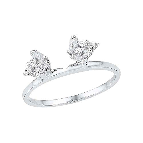 FB Jewels 14kt White Gold Womens Baguette Diamond Ring Guard Wrap Solitaire Enhancer 1/4 Cttw (I1-I2 clarity; H-I color)