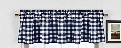 lovemyfabric Poly Cotton Gingham Checkered Plaid Design Kitchen Curtain Valance Window Treatment-Navy Blue