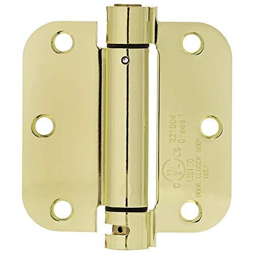 AmazonBasics Self-Closing Door Hinge, 3.5 Inch x 3.5 Inch, 1 Piece, Polished Brass ()