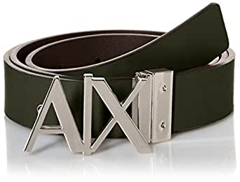 Amazon.com: Armani Exchange Men's Ax Logo Buckle Hinge Belt, Dark Moss, 38: Clothing