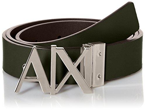 Armani Exchange Men's Ax Logo Buckle Hinge Belt, Dark Moss, 36 (Ax Men Belt)