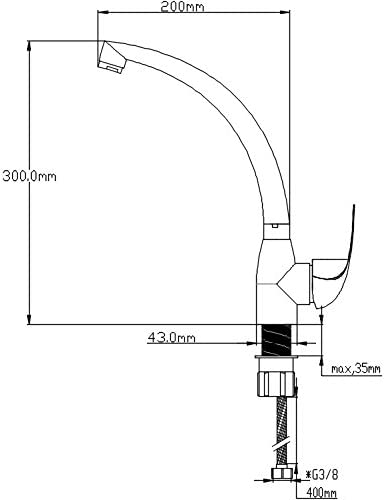 Plateado DP Grifer/ía GCCF01 Grifo monomando de cocina de ca/ño fundido Enebro