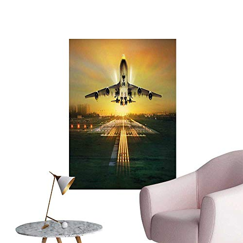 Vinyl Wall Stickers Flying Widebody Plane Taking Off from Landing Field for New Voyagers Print Multicolor Perfectly Decorated,20