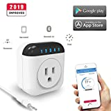 Bluetooth Smart Plug, Nashone Multi-Function Outlet, Thermostat, Timing, Countdown and Schedule APP Control Compatible with iOS & Android (White)