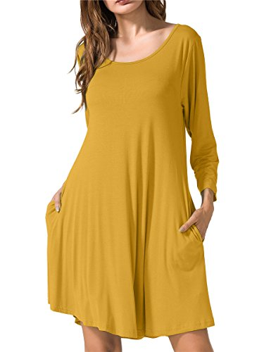 JollieLovin Women's Casual Swing 3/4 Sleeve Pockets T-Shirt Loose Dress (Yellow, 3X)