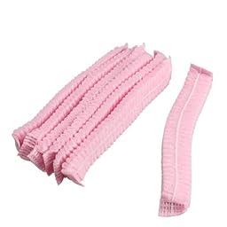 TTnight 100 PCS Non Woven Disposable Dust Cap Hair Shower Bouffant Cap Pleated Anti Dust Hat Set (Pink)