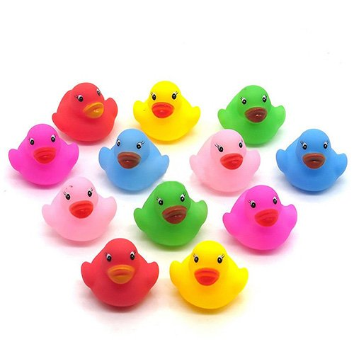 Dontdo 12Pcs Mini Colorful Bathtime Kids Baby Bath Toy Ducks Squeaky Water Play Fun
