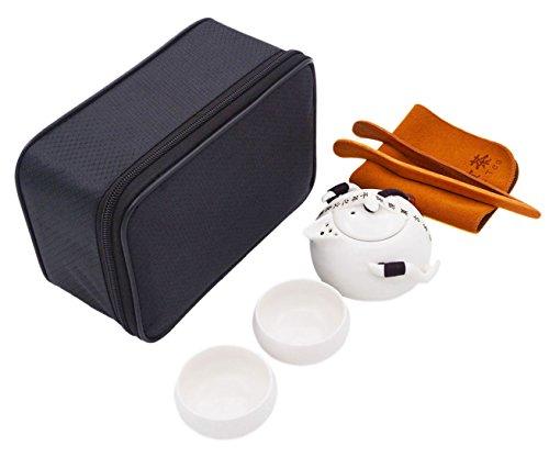 Vegali Chinese / Japanese Vintage Kungfu Gongfu Tea Set - Porcelain Teapot & Teacups & Tea Clip with a Portable Travel Bag (White)