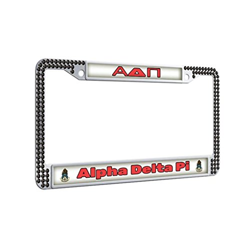 Alpha Delta Pi Protector License Plate Frame Diamond Shining Thin Car License Plate Covers With Security Screws and Screws Caps,Black