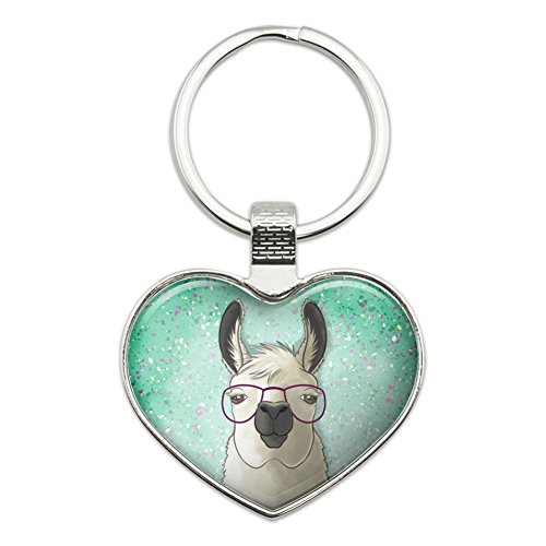 Hip Llama with Glasses Heart Love Metal Keychain Key Chain Ring