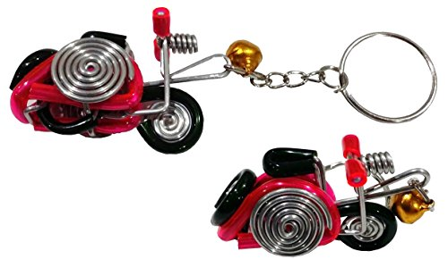Vespa Keychain The invention of red wax aluminum wire with gold bell. Handmade Invention From The Disabled (Gift Baskets Mn)