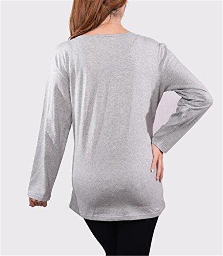 Maglietta Maglietta Sciolto Premaman Collo AmanGaGa Maglia T Gravidanza per Rotondo Bluse Shirt Pregnancy Lunghe Moda Top Maniche Grey3 Donna qfaYn1R